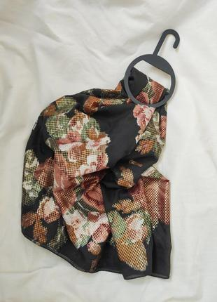 Шарф платок хомут хаки с цветами