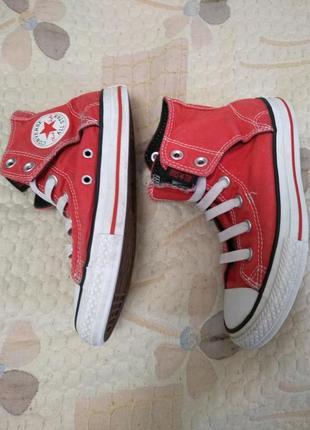 Красные кеды на липучках и резиновых шнурках , размер 33