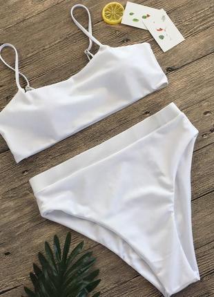 Белый раздельный купальник бикини с высокой посадкой