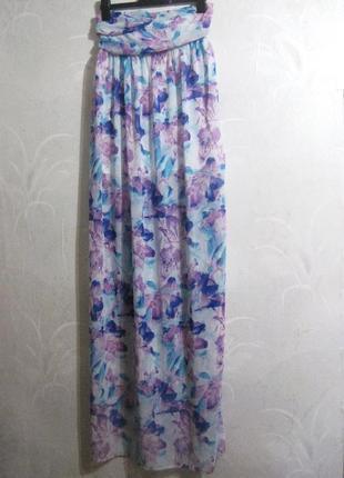 Длинное платье макси голубое сиреневое цветы разноцветное шифоновое летнее в пол