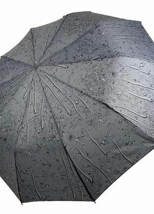 """6 цветов! складной женский зонт полуавтомат """"капли дождя"""" от sl, серый"""