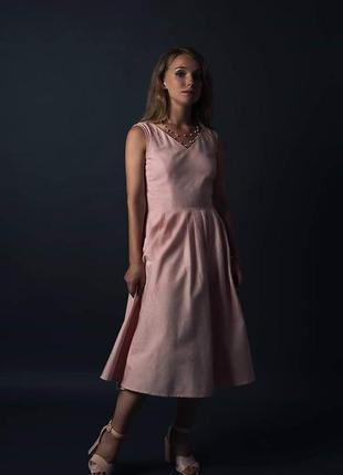 Розовое платье 95% хлопок