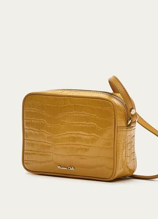 Женская кожаная сумочка кроссбоди massimo dutti желтого цвета crossbody кросс-боди кожа