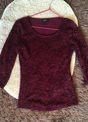 Кофточка блуза с гипюром amisu лонгслив
