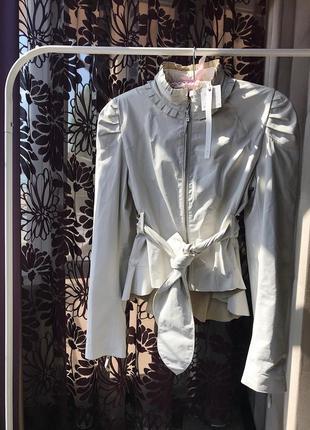Шикарная итальянская кожаная куртка fracomina, натуральна кожа, италия