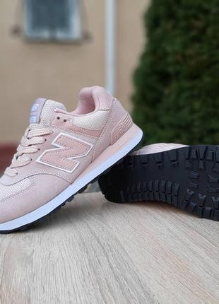 Кроссовки женские new balance 574, розовые, нью баланс, беланс, кросівки9 фото
