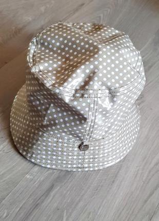 Классная фирменная шляпа панама лакированная бежевая в горох лондон