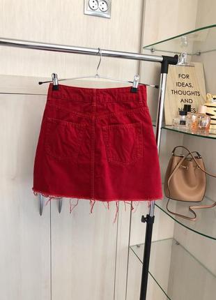 Ярко-красная юбка трапеция джинсовая от topshop3 фото