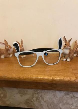 Очки имиджевые прозрачные белые зайци ушки прикольные c&a