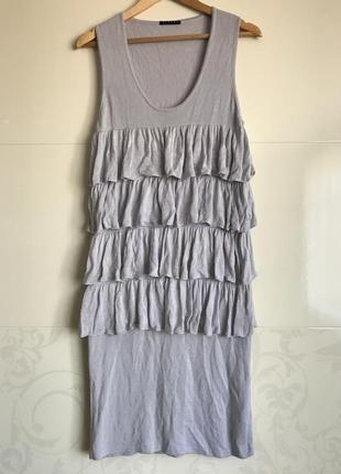 Sisley-шикарное платье с рюшами! р.-s