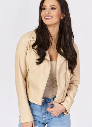 Женская куртка косуха бежевая р.l, р.xl экокожа, кожзам  новинка