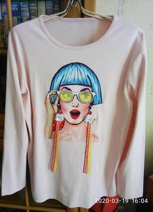 Батал! модная брендовая футболка на 56 - 60 р.р. укр. joy