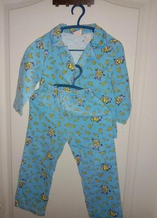 Фланелевпя пижама пижама теплая миньоны