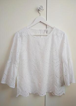Кружевная белая  блузка из шитья