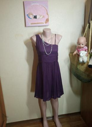 Фиолетовое платье из натурального шелка хенд мейд