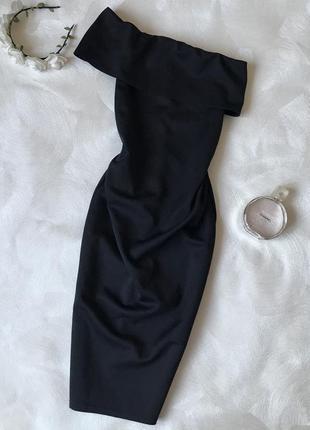 Чёрное платье миди boohoo на одно плечо облегающее