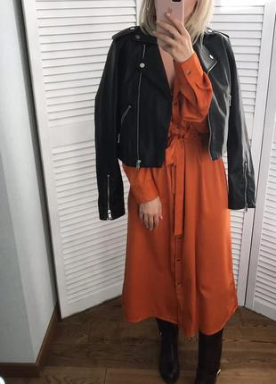 Моркв'яна сукня-сорочка з поясом6 фото