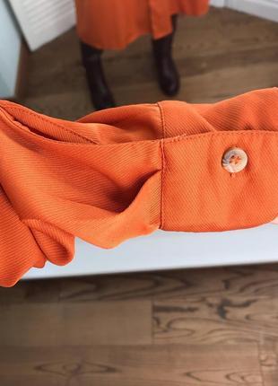 Моркв'яна сукня-сорочка з поясом5 фото