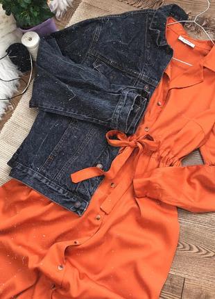 Моркв'яна сукня-сорочка з поясом10 фото