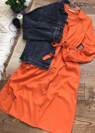 Моркв'яна сукня-сорочка з поясом