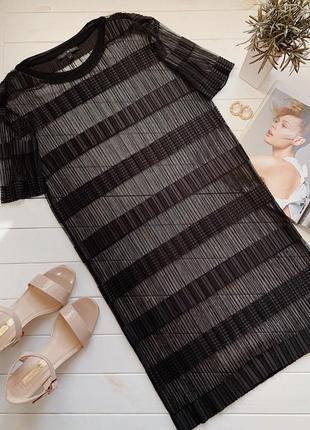 Черное платье-сетка сетка прямого кроя размер м 40 38
