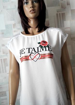 #розвантажуюсь стильная фактурная блуза футболка с принтом и кружевом от kelso