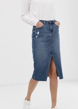 #розвантажуюсь  джинсовая юбка на высокой талии с необработанным низом и разрезом, м