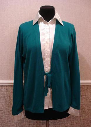 Нарядная кофта с длинным рукавом кофта с вырезом кардиган с блузкой обманкой бренд gifford fox