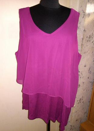 Стрейч-вискоза,многослойная,асимметричная,вишнёвая блуза,большого 22 размера,морокко
