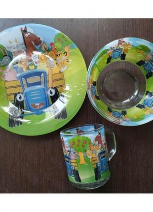 Набор посуды синий трактор 3 в 1