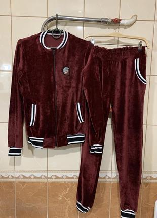 Прогулочный костюм спортивный костюм бомбер штаны костюм велюровый