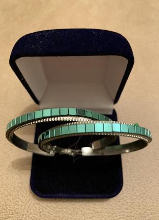 Серьги кольца зеленые