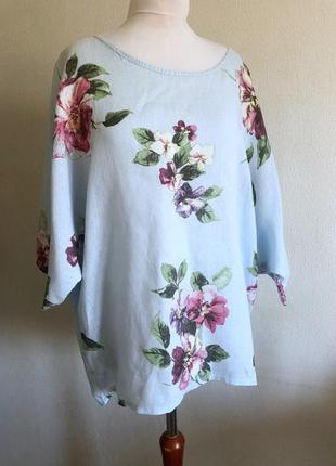 Льняная блуза лён италия бохо цветочный принт