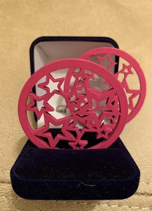 Серьги розовые круглые звезды