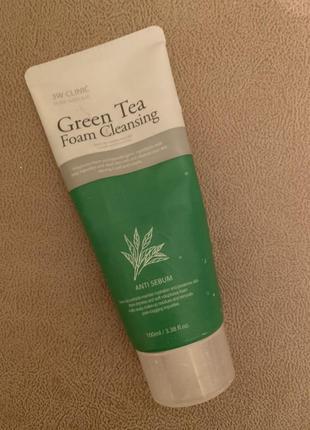 3w clinic green tea foam cleaning пенка очищающая с зелёным чаем для умывания