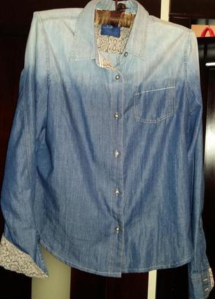 Продам новую джинсовую сьильную рубашку