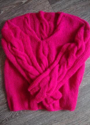 Объёмный свитер с косами, оверсайз крупной вязки из кид мохера