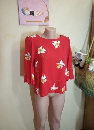 Яркая красная блуза турция 14 размер