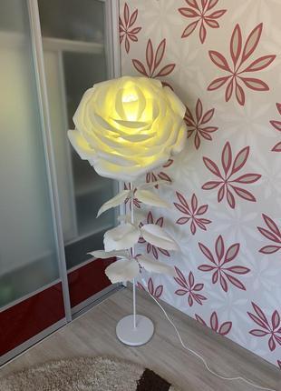 Декоративный торшер цветок - роза с цветной led-лампой на управлении   ночник в спальню