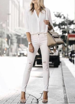 Стильные зауженные белые джинсы/ стрейчевые/ высокая посадка