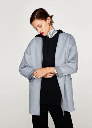 Кардиган жакет пальто куртка из искусственной замши от zara