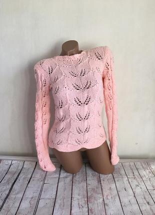 Красивый нежный розовый вязаный свитер (джемпер, пуловер) ручная работа