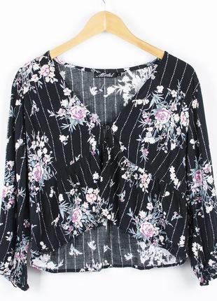 Черная блуза укороченная