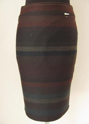 Зимняя теплая юбка карандаш в оригинальную широкую полосу р.46 код 2766м