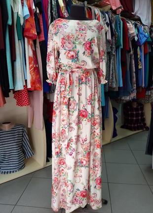 Королевское длинное платье цветочный принт