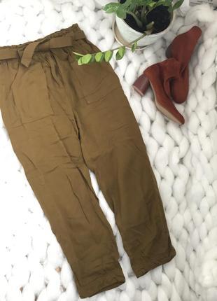 Штаны брюки свободные оверсайз с карманами высокой посадкой поясом slouchy бананы