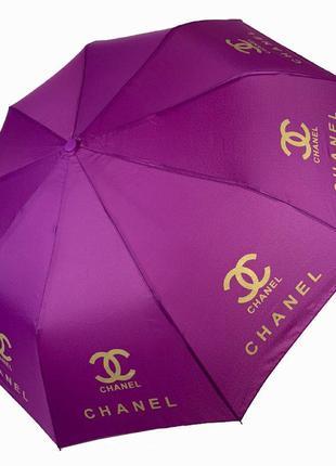 """Складной женский зонт полуавтомат с системой """"антиветер"""", """"бренды"""" от max, фиолетовый"""