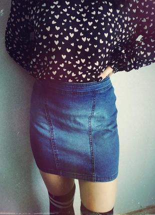 Базовая,актуальная джинсовая юбка,карандаш,высокая посадка