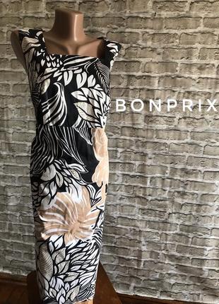Платье женское большой размер цветочный принт базовое