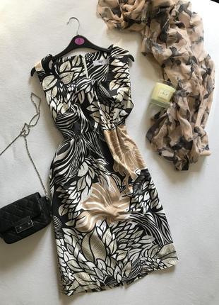 Платье женское большой размер миди цветочный принт базовое